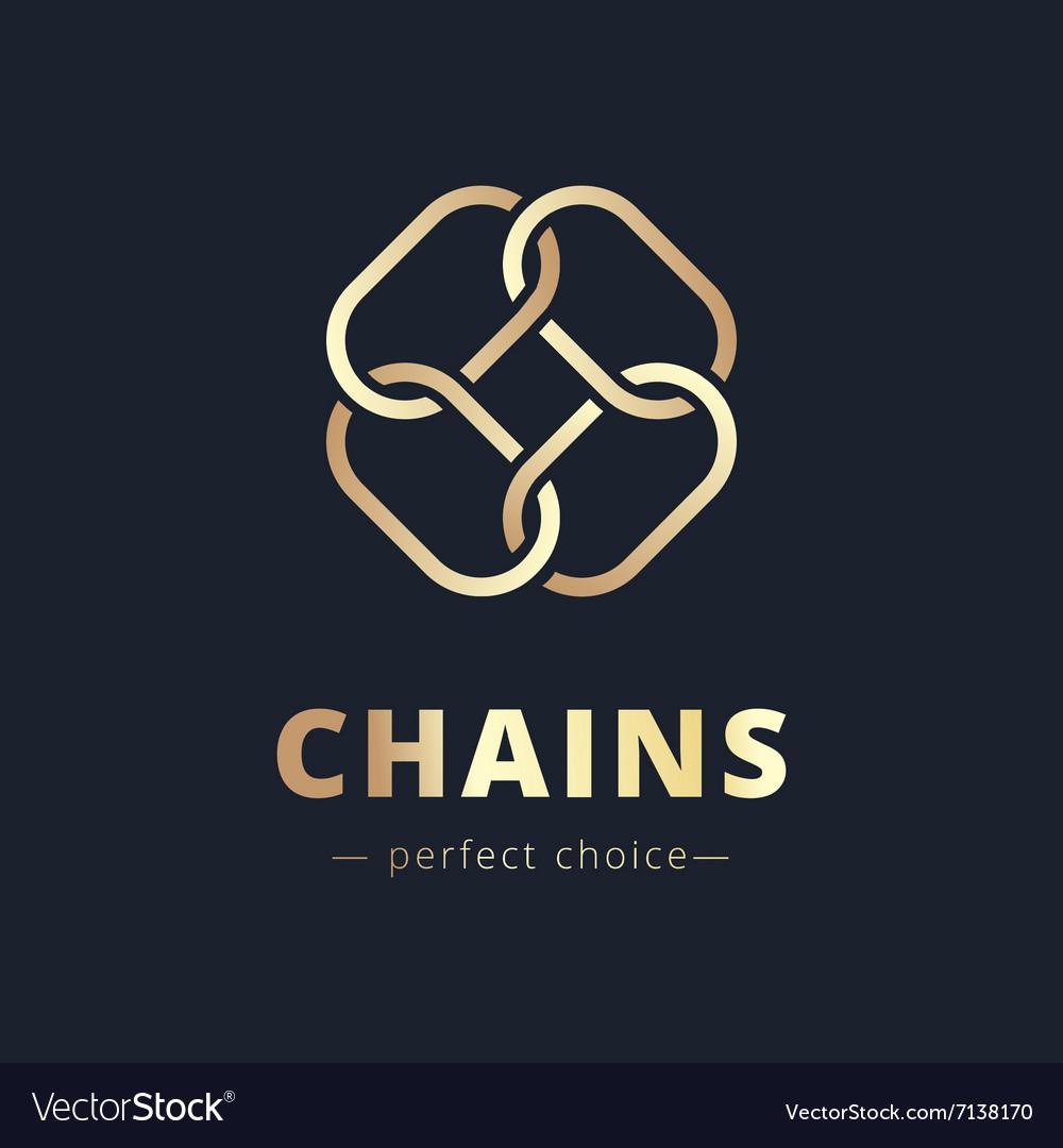 Minimalistic chain flower golden logo