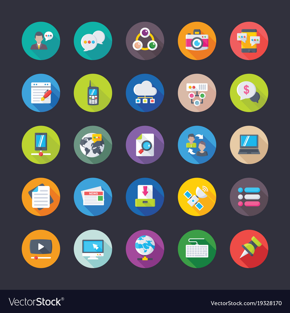 Pack of network communications flat icons