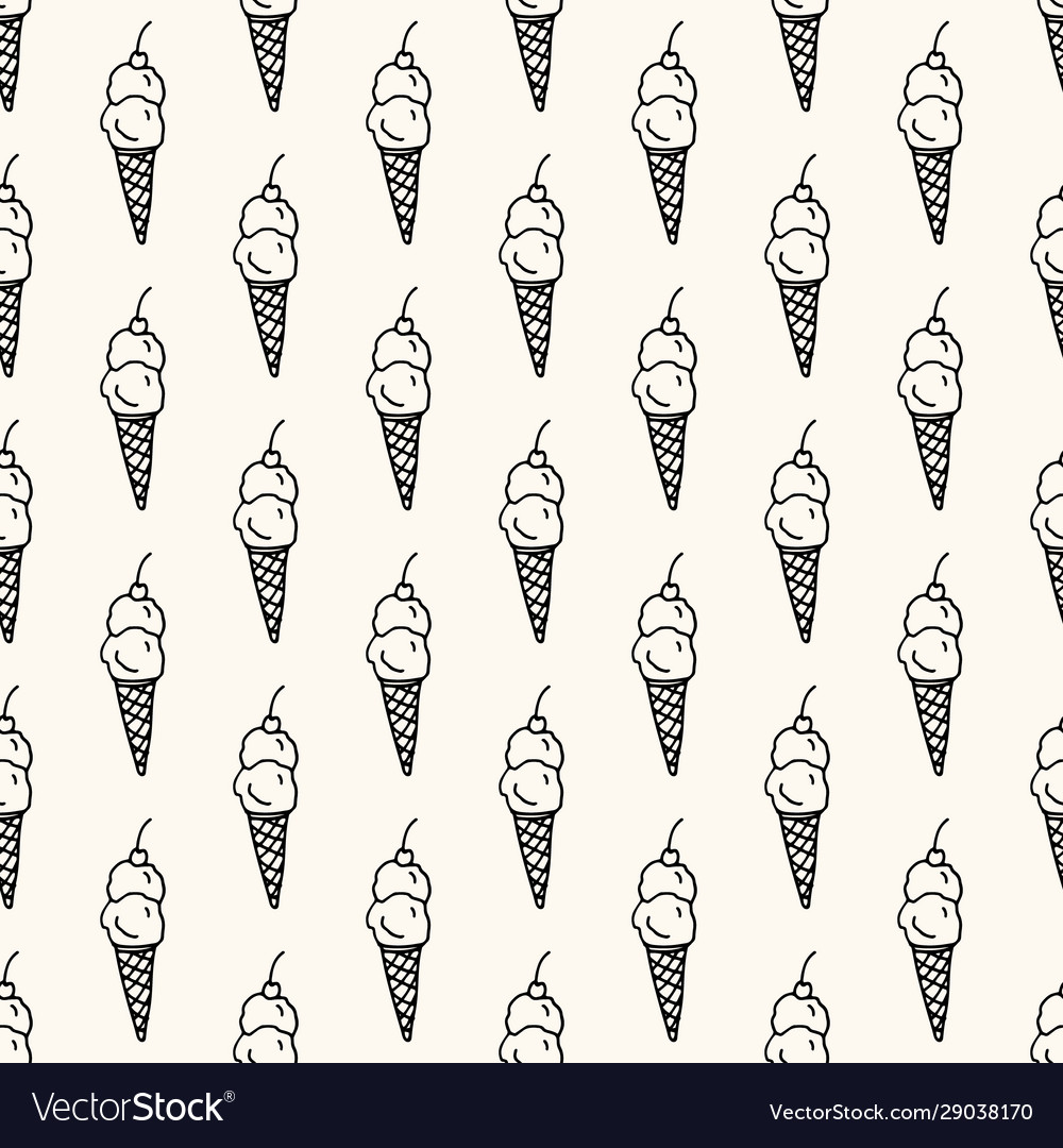Seamless pattern with monocrome ice cream