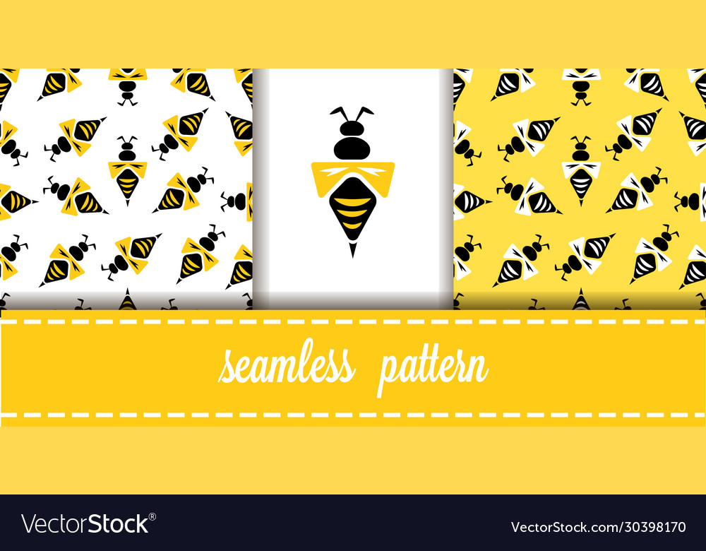 Seamless pattern with wasps