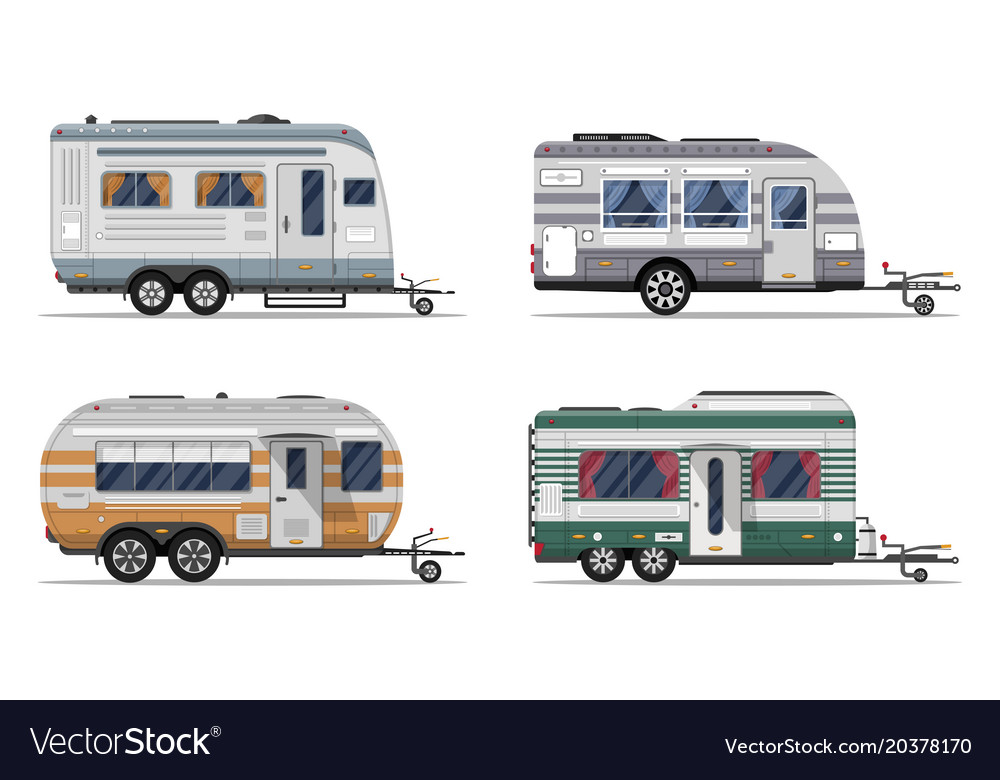 Side view camping trailers isolated on white