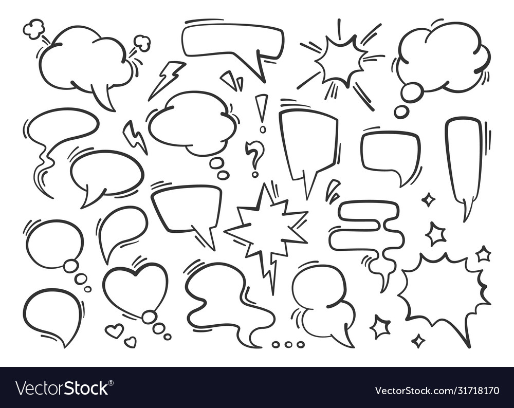 Speech bubble set silhouette conversational drawn