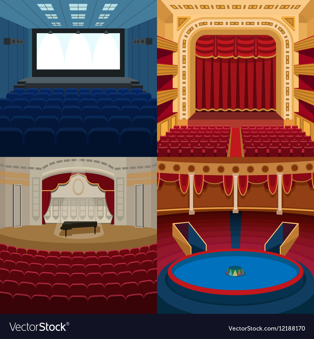 Theaters and scene background vector image