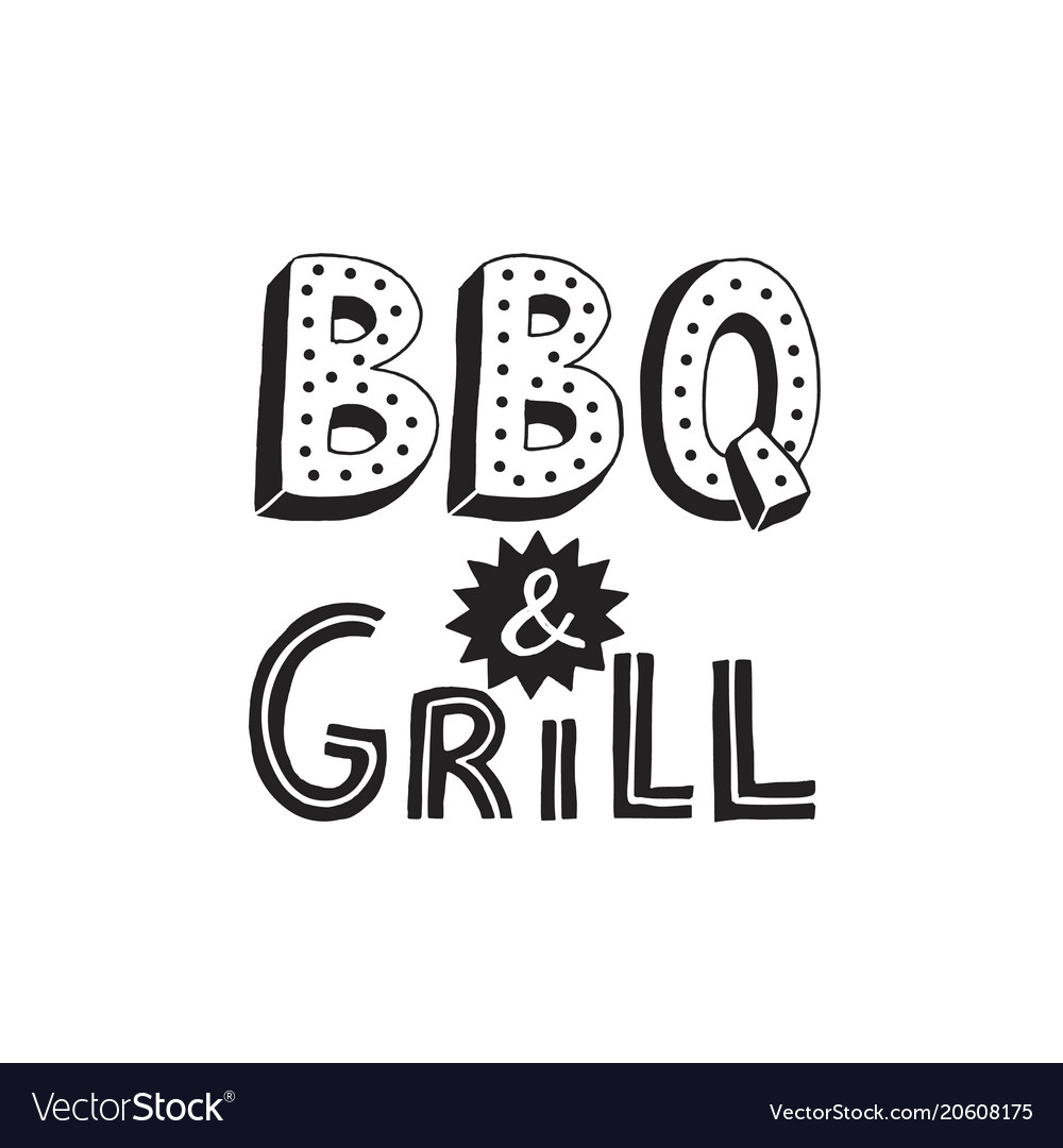 Bbq and grill lettering