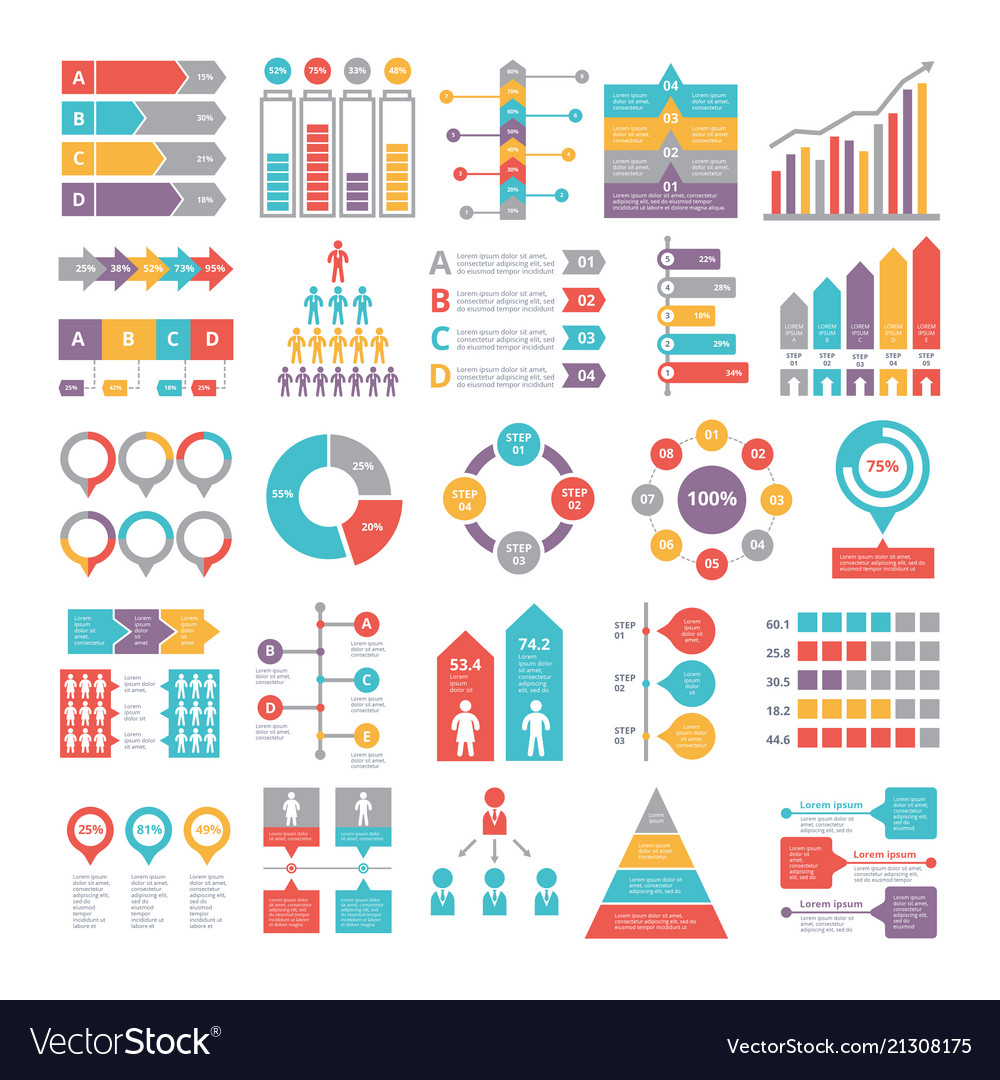 Charts graphs and other different infographics