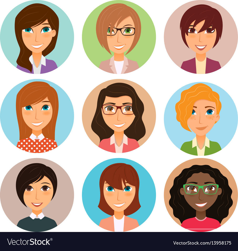 Collection of avatars of various young women