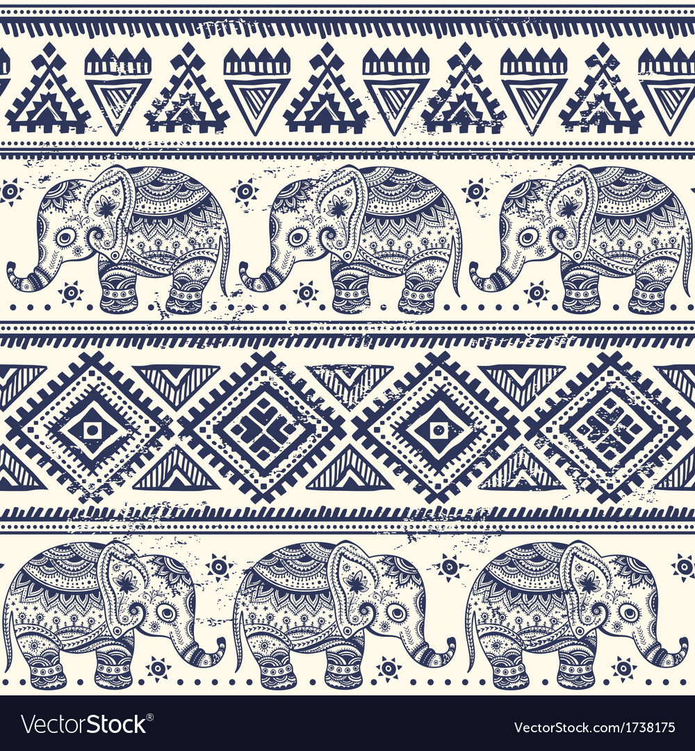 Ethnic elephant seamless
