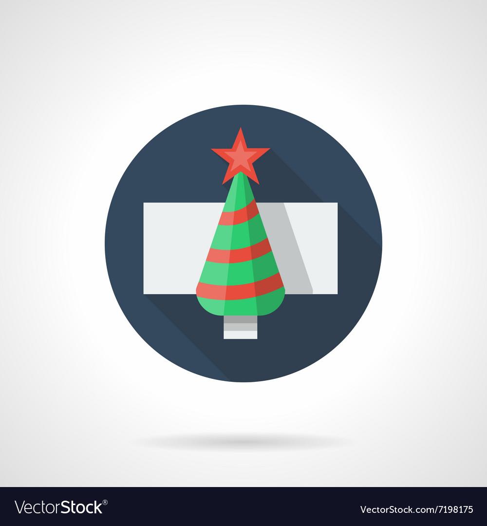 Fir-tree with red decor round flat icon