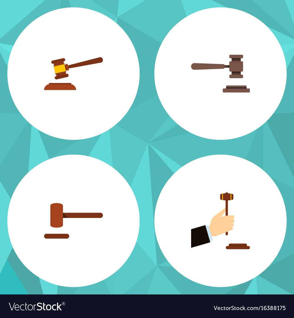 Flat icon hammer set of hammer law defense and