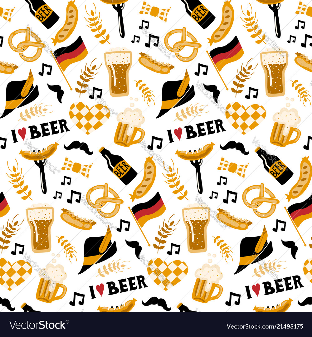 Hand drawn seamless pattern with traditional beer