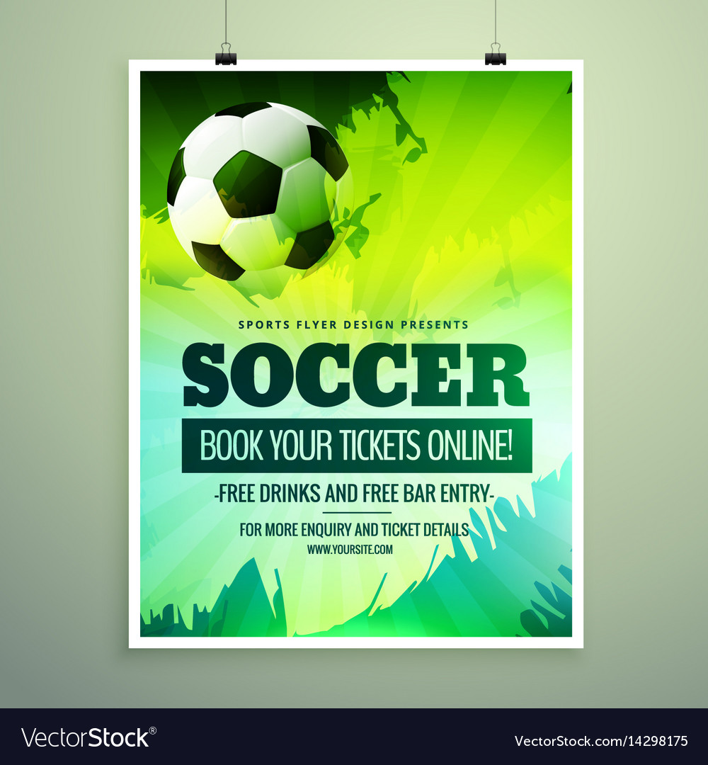 Modern sports flyer design with football in green