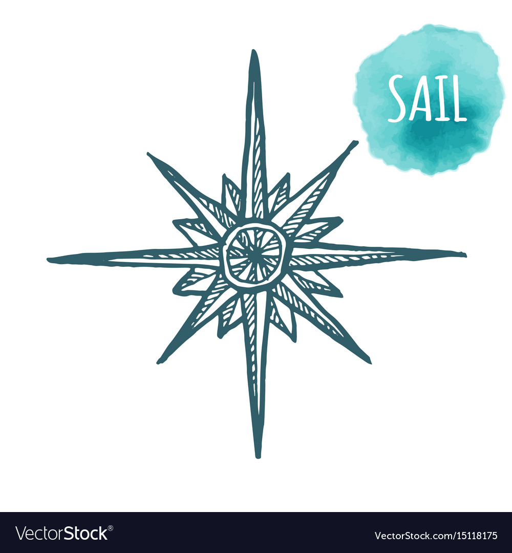Nautical marine wind rose compass icon for travel