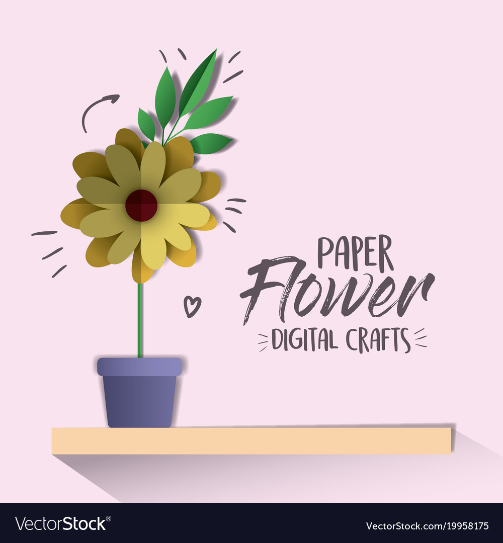 Paper Flower Digital Craft Royalty Free Vector Image