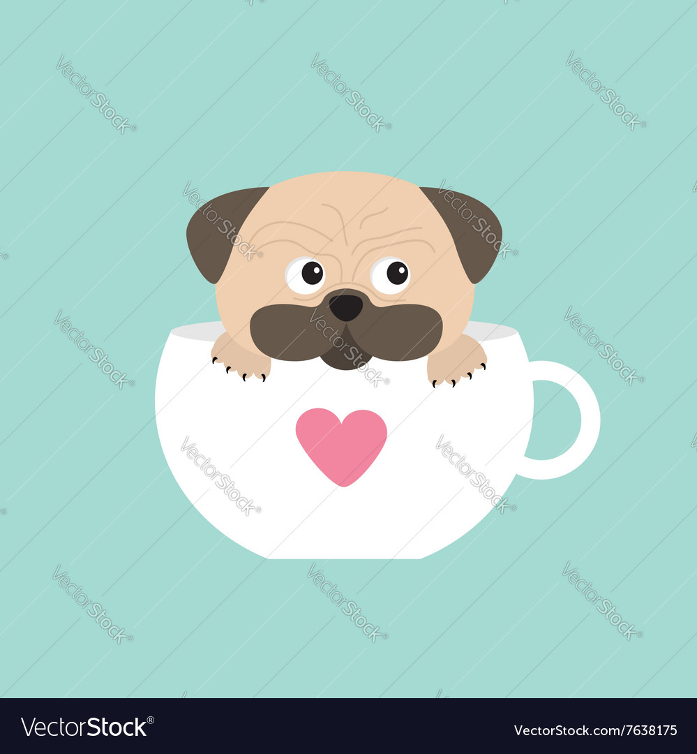 Pug dog mops paw sitting in big cup with heart