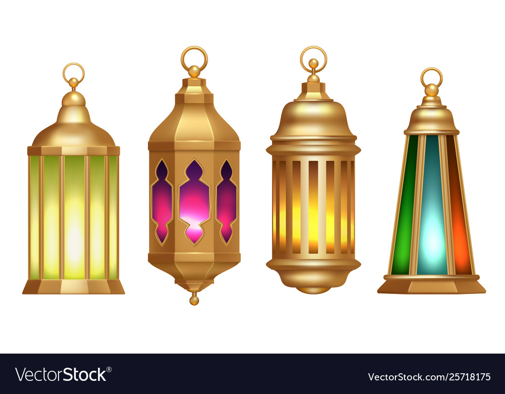 ramadan lanterns muslim islamic vintage lamps 3d vector image vectorstock