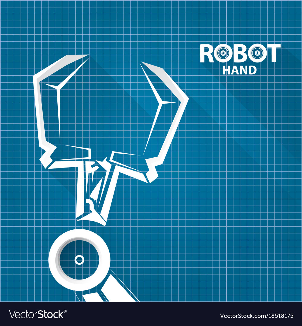 Robotic arm symbol on blueprint paper royalty free vector robotic arm symbol on blueprint paper vector image malvernweather Gallery