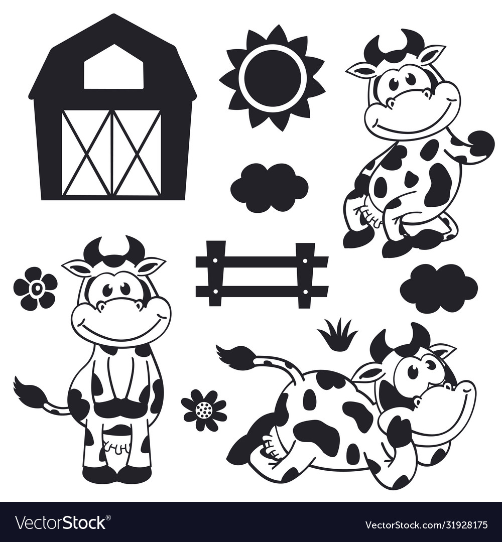 Set isolated black funny cow and farm