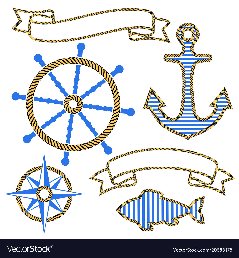 Set of nautical design elements anchor steering