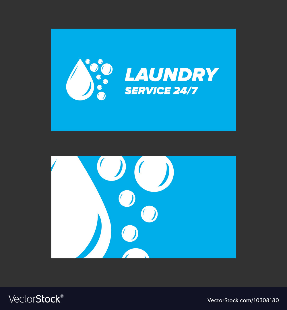 Blue Laundry Service Business card Royalty Free Vector Image