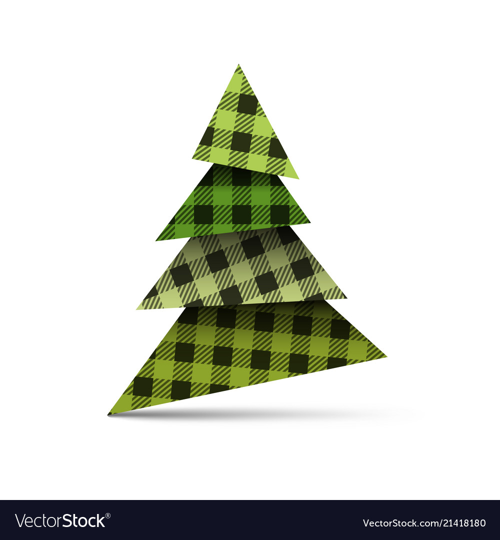 Christmas tree from pieces of paper with plaid