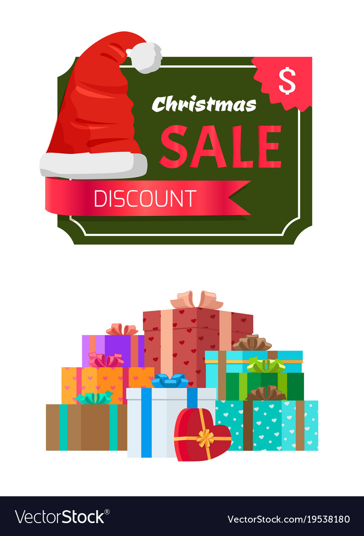 discount christmas sale promo sticker hat advert vector image