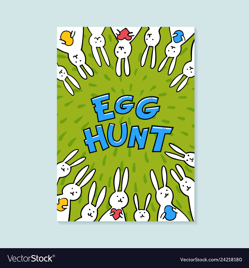 Easter greeting card egg hunt inscription and