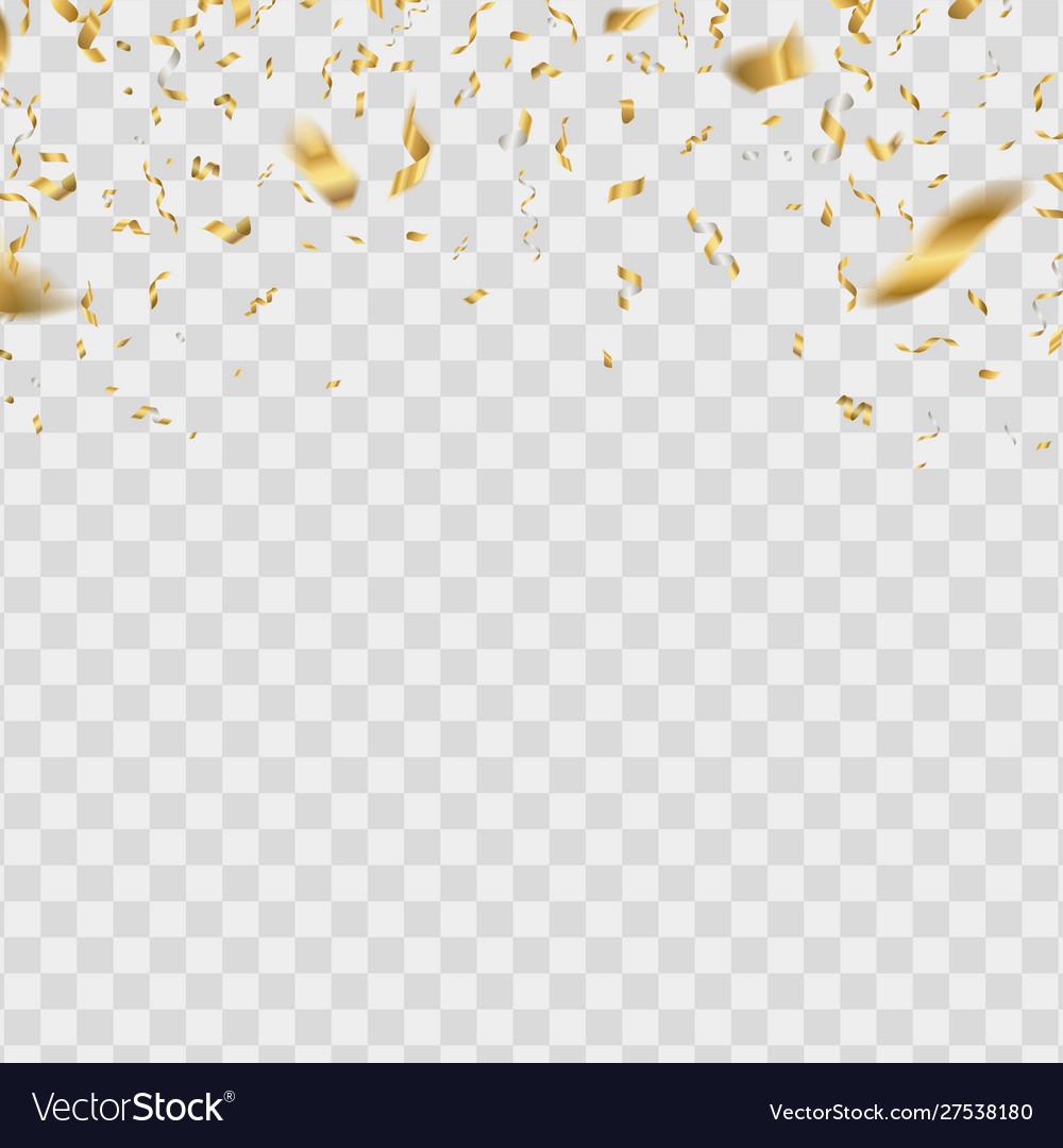 Gold shiny confetti golden falling serpentine