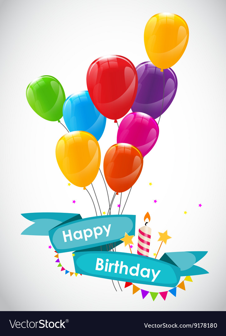 Happy Birthday Card Template With Balloons Vector Image