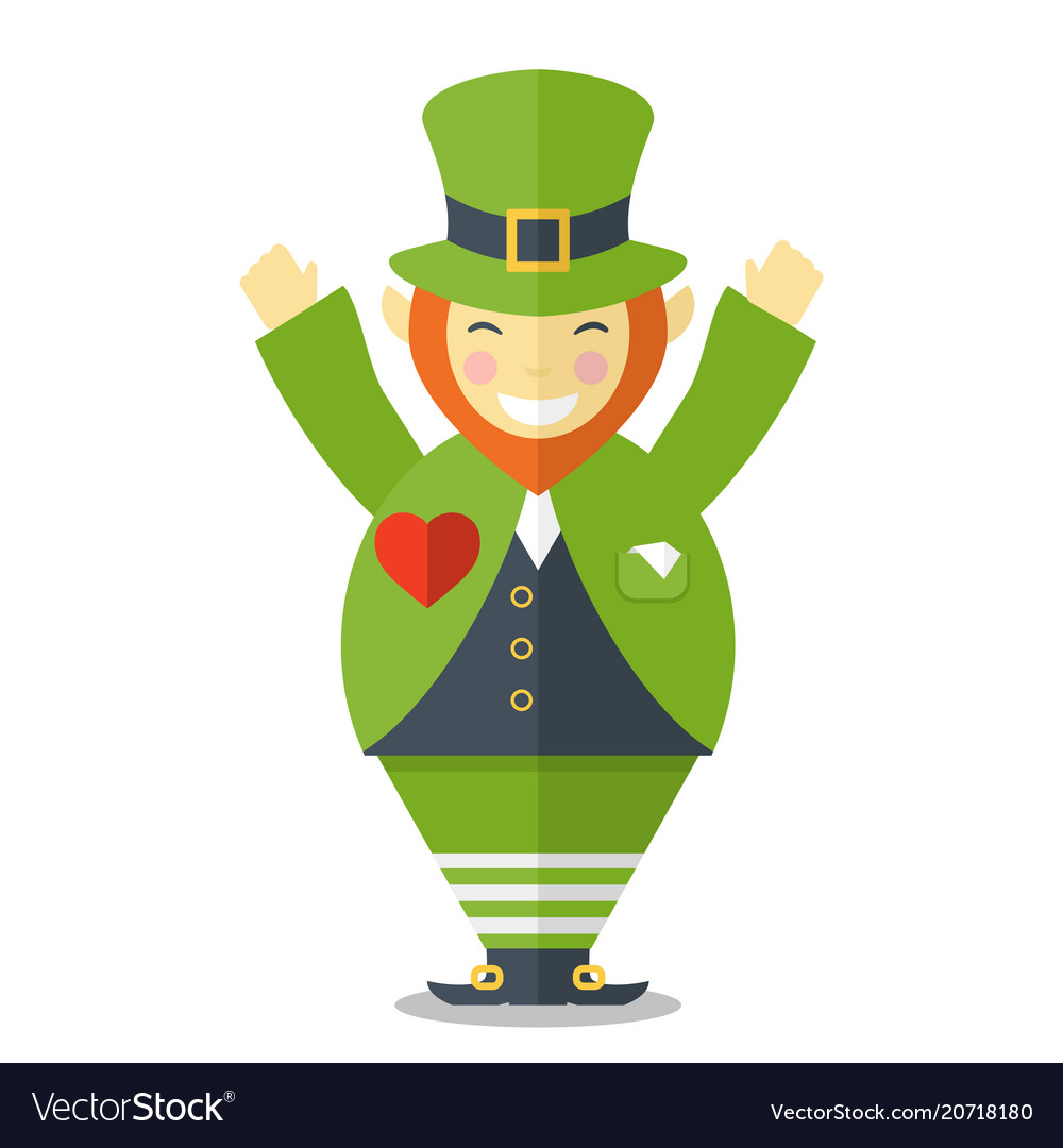 Happy leprechaun with hands up