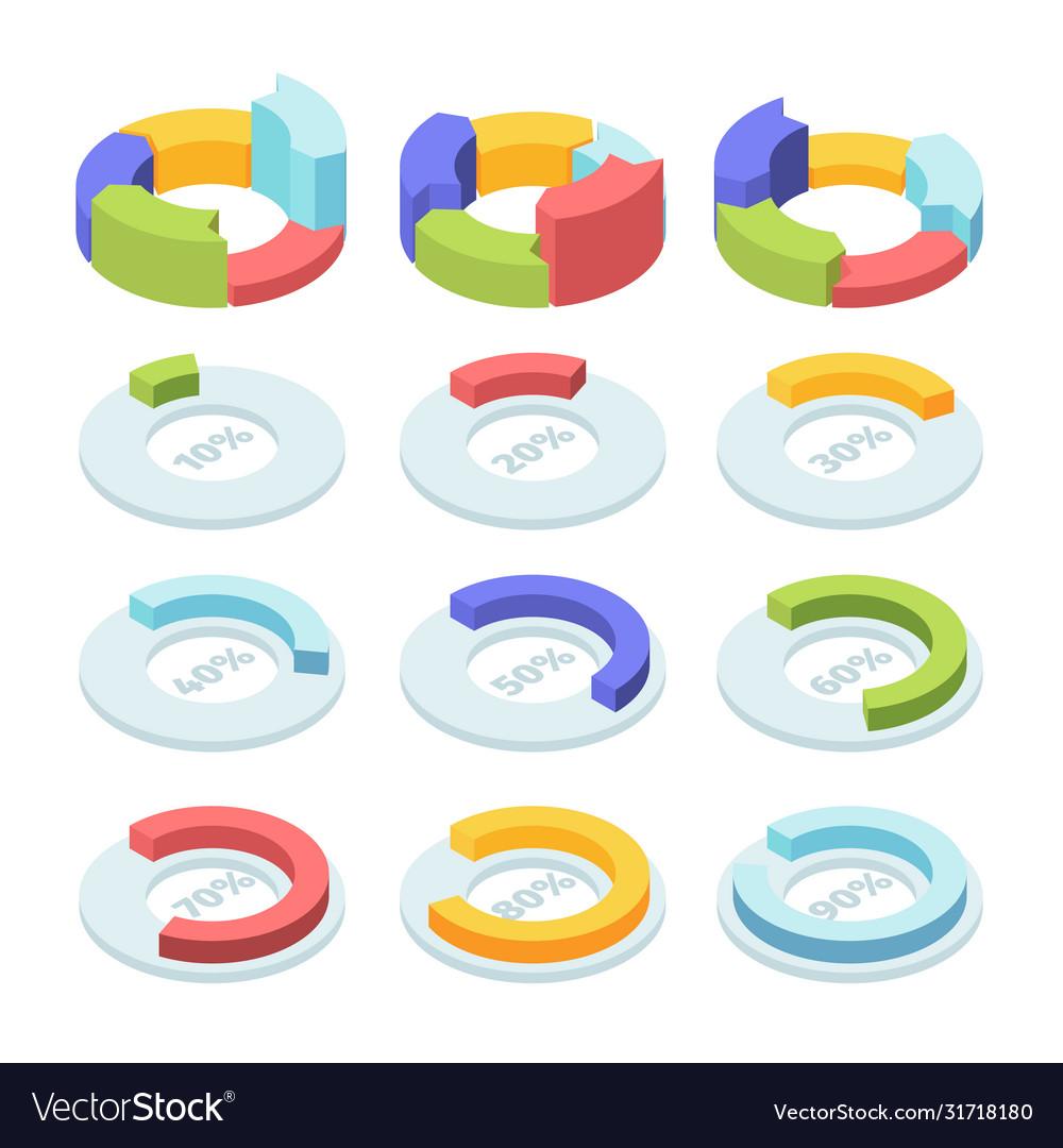 Isometric circle pie chart set infographic