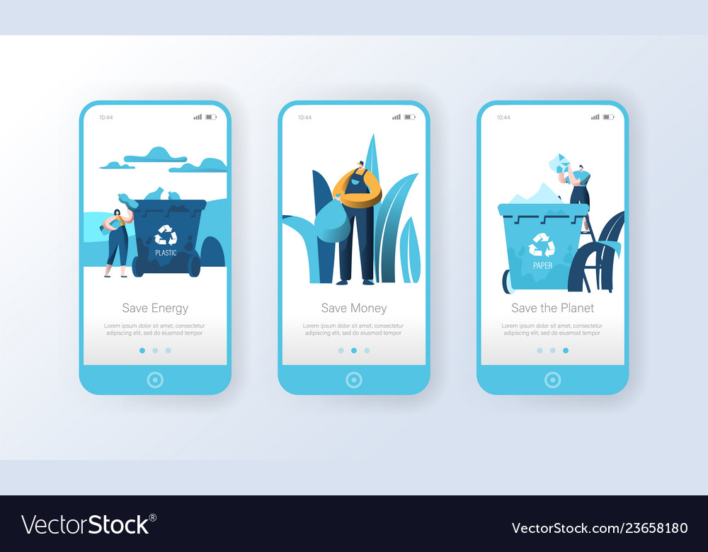 Recycling plastic garbage bin mobile app page