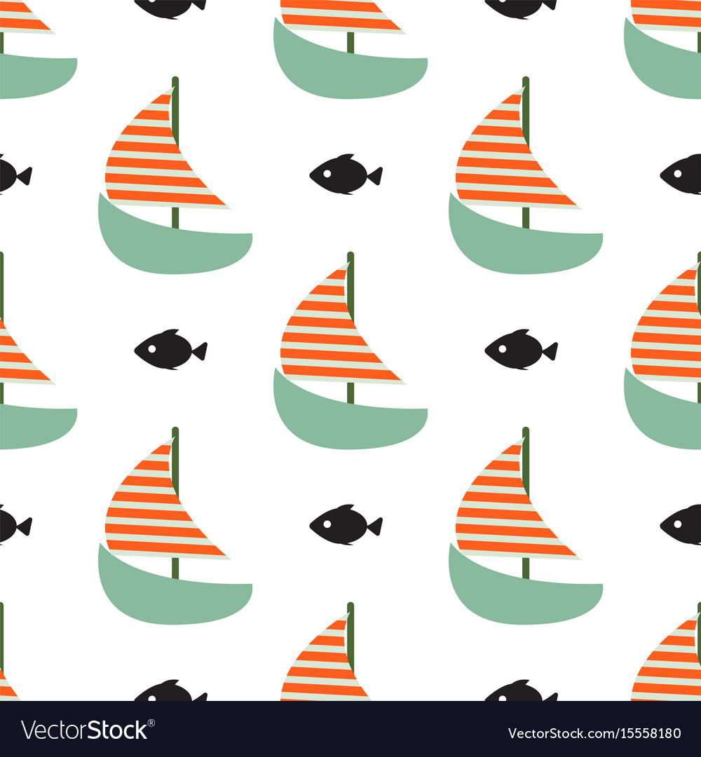 Sailboat and fish seamless child funny vector image