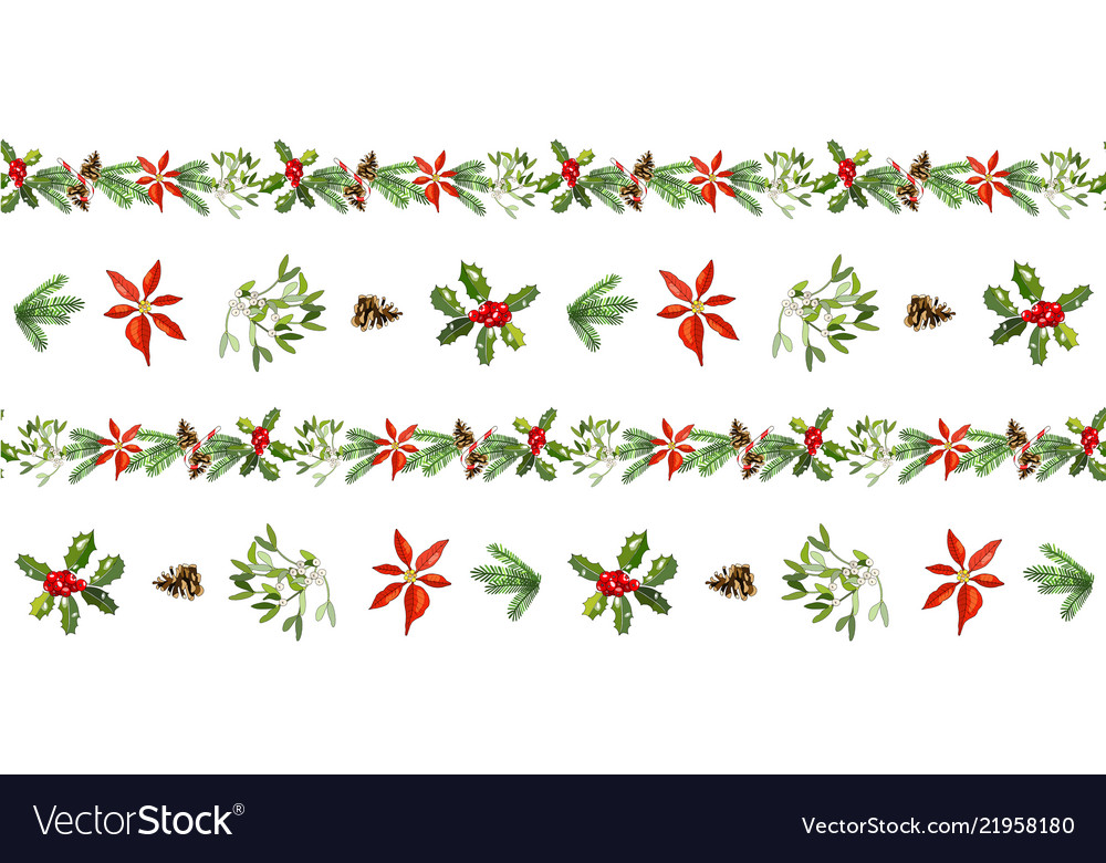 Seamless pattern with cone fir branches holly