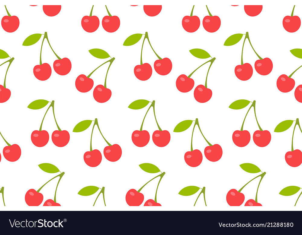 Seamless pattern with red cherry