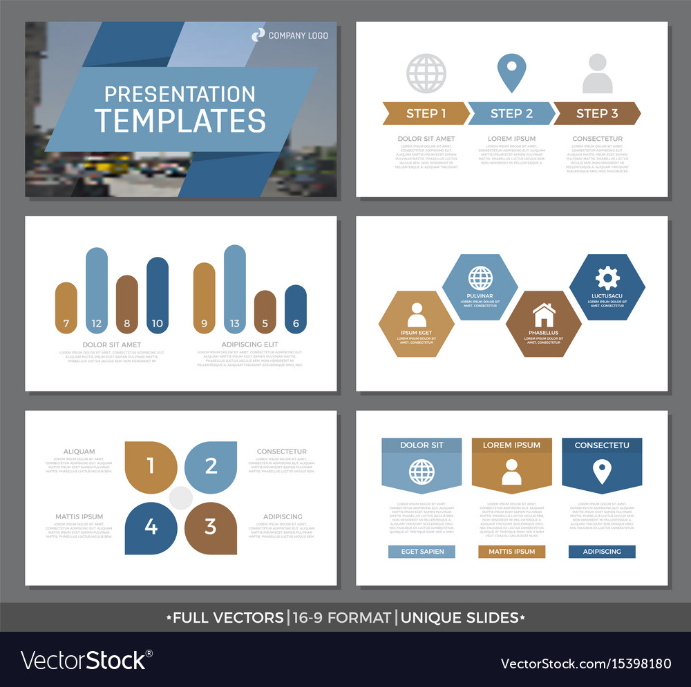 Set of blue and brown elements for multipurpose