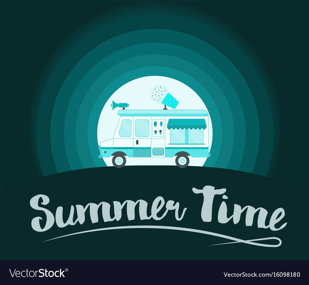 Summer time poster ice cream truck