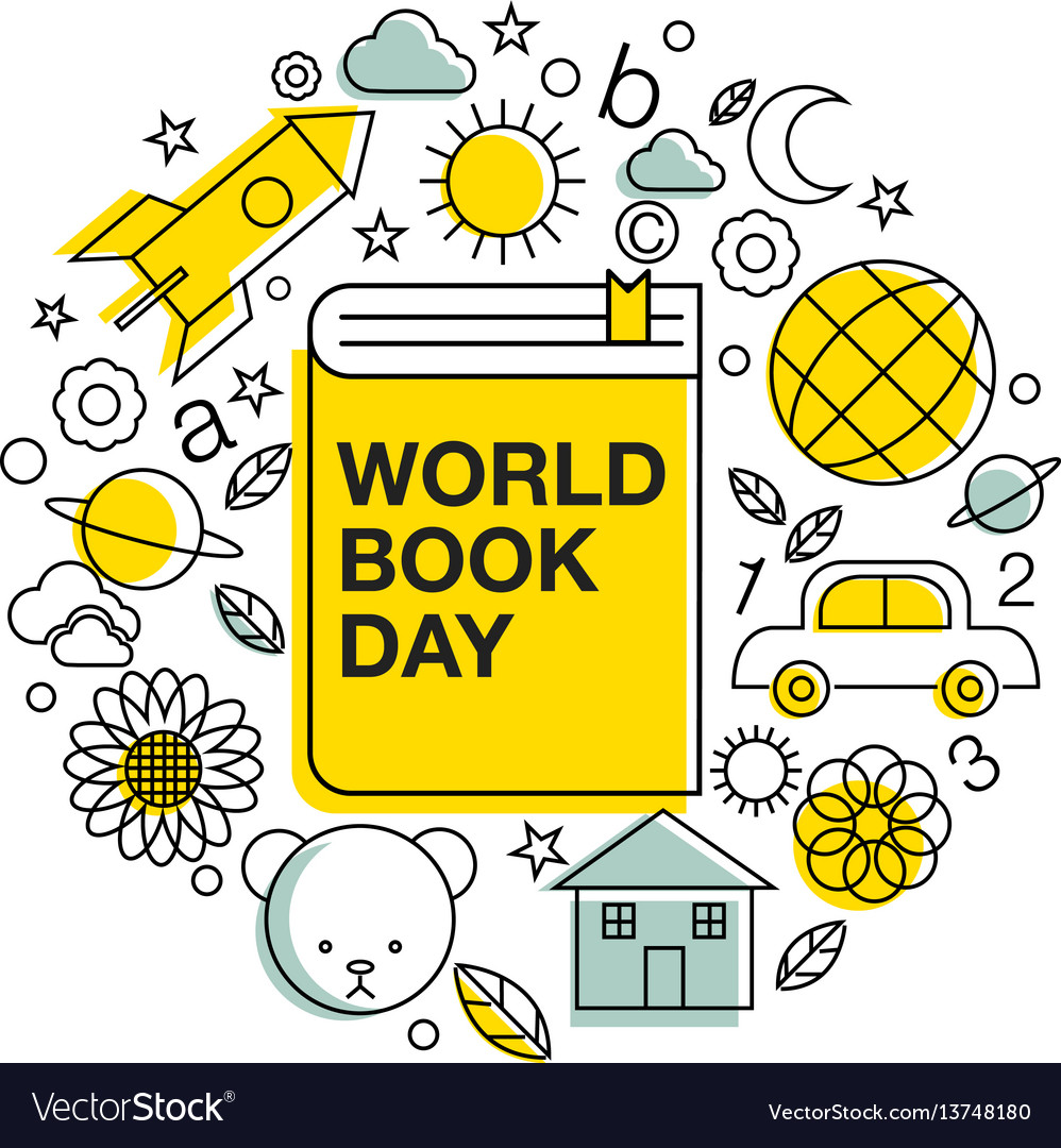 World book and copyright day logo icon line
