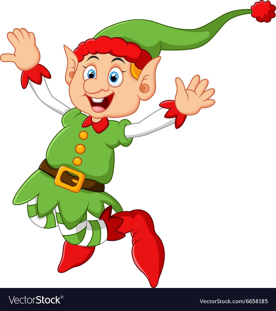 Cartoon Christmas Elf waving Royalty Free Vector Image