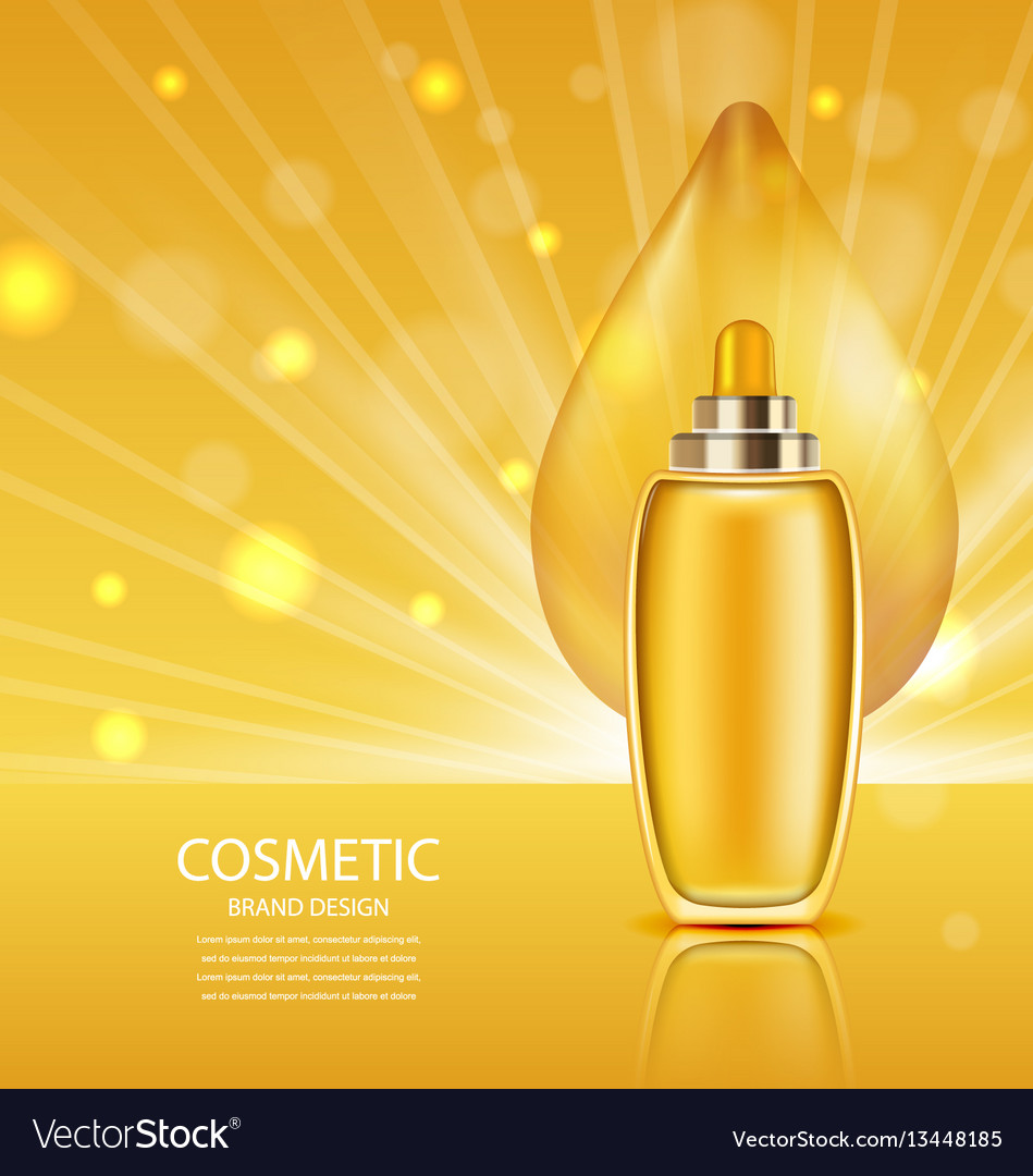 Cosmetic product with oil abstract orange