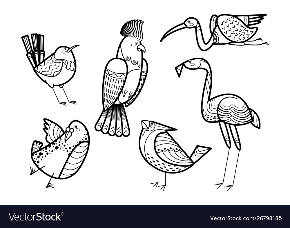 Cute hand drawn birds set coloring page