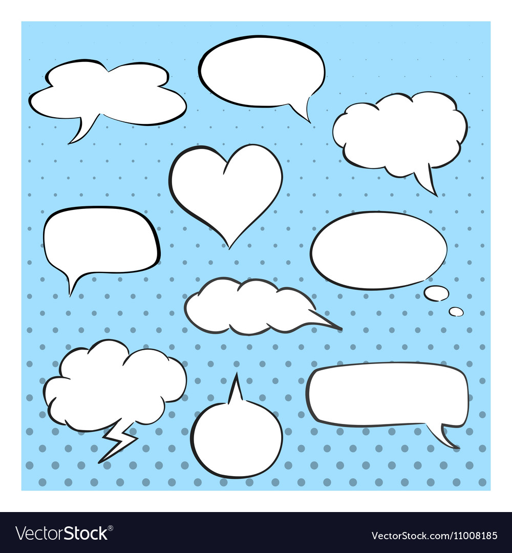 hand drawn speech bubbles template collection of vector image
