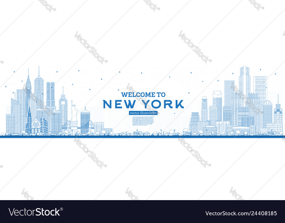 Outline welcome to new york usa skyline with blue