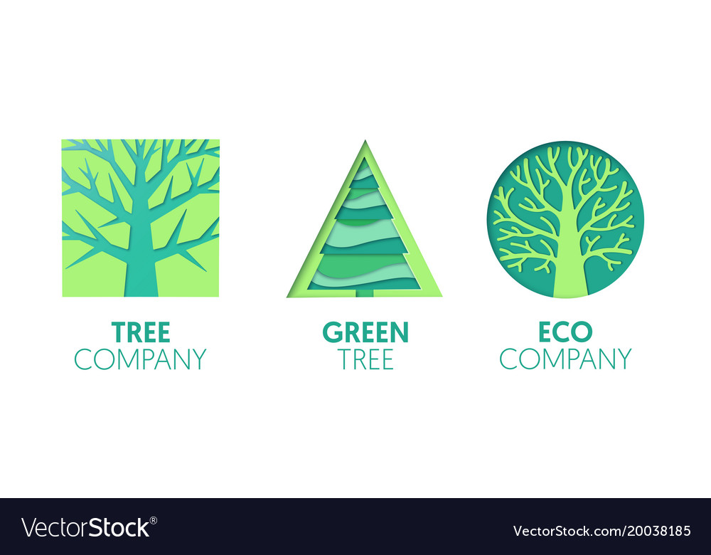 Paper cut out logo template set with green trees
