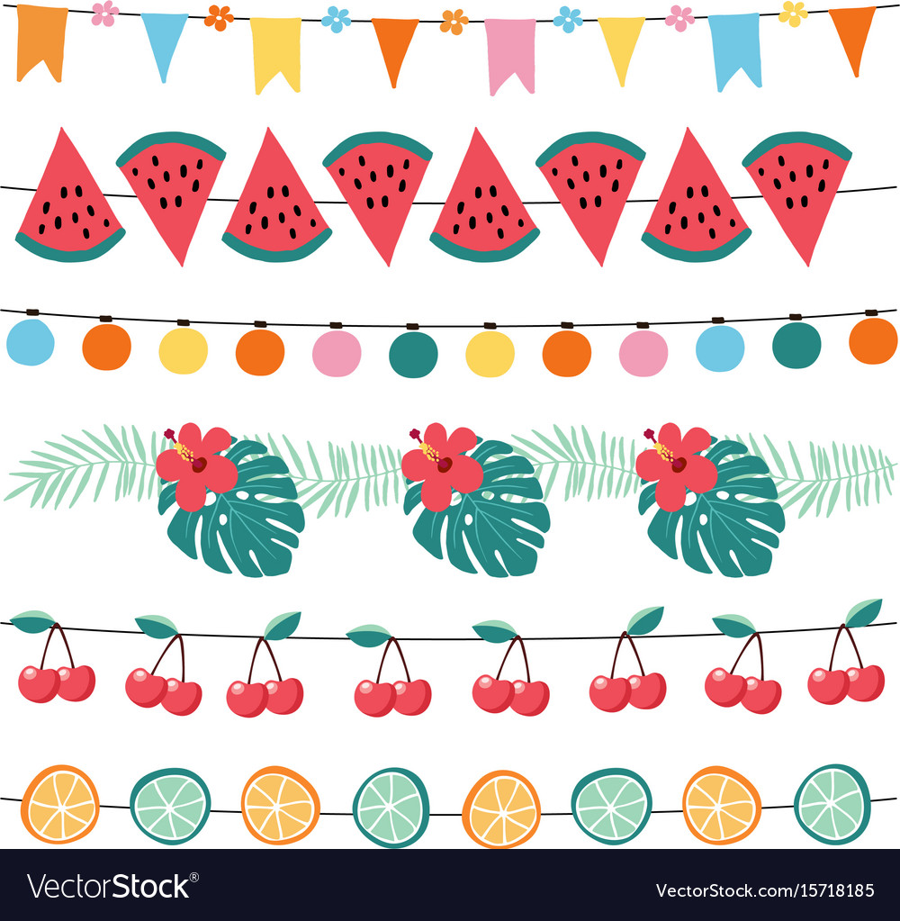 Set colorful summer garlands birthday party