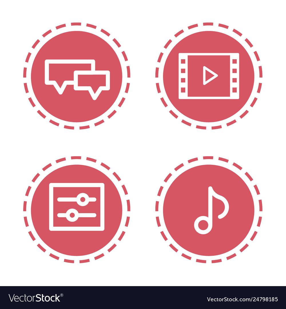 Set different mobile app social media icons web