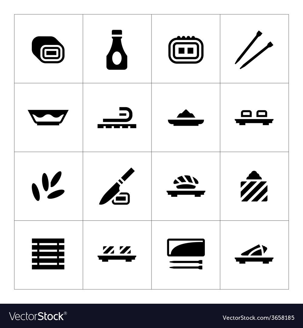 Set icons of sushi