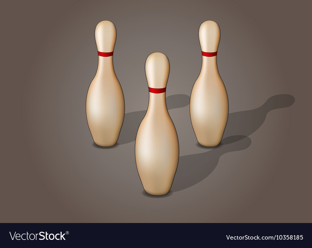 Single bowling pin with red stripe isolated
