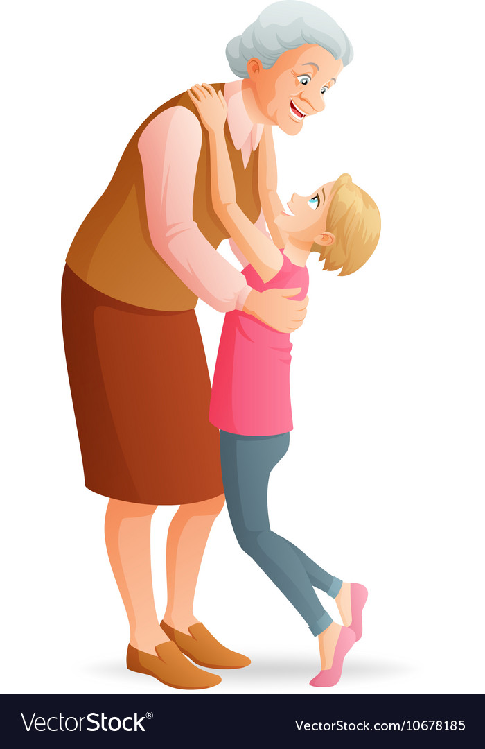 Smiling grandmother hugging her granddaughter
