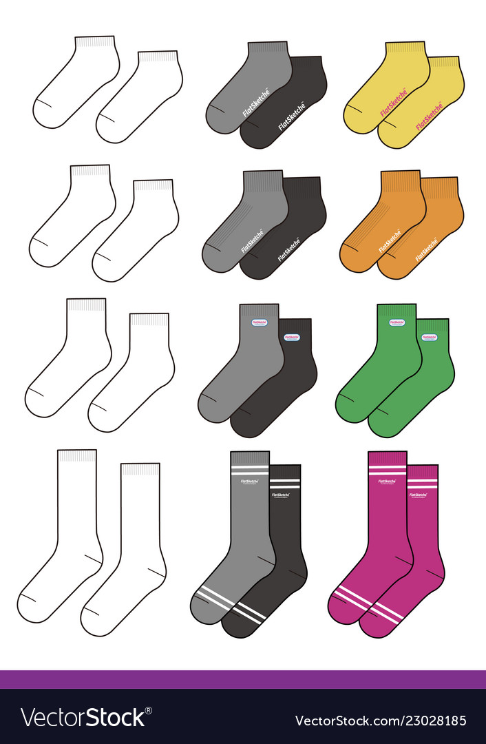 Socks Set Fashion Flat Sketche Template Vector Image