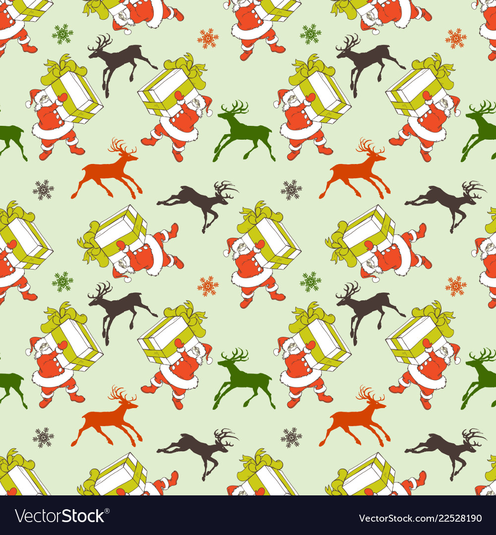 Christmas seamless pattern cartoon santa and